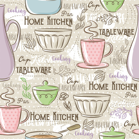 scrap booking: Seamless Patterns with different tableware,flower, cup,  pan and text. Ideal for printing onto fabric and paper or scrap booking. Illustration