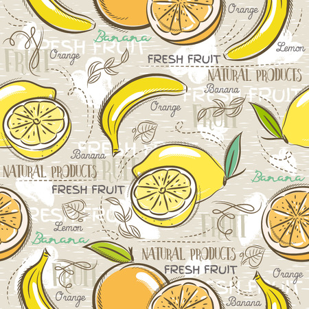 scrap booking: Background with  bananas, oranges and lemons. Ideal for printing onto fabric and paper or scrap booking. Illustration