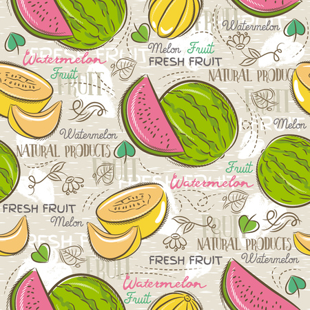 scrap: Background with melon and watermelon. Ideal for printing onto fabric and paper or scrap booking.