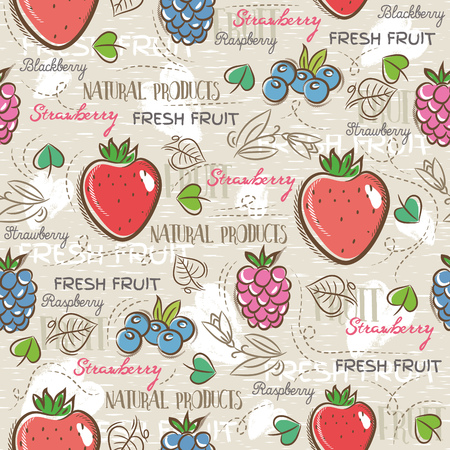 scrap booking: Background with  strawberry,  blueberry and raspberry. Ideal for printing onto fabric and paper or scrap booking Illustration