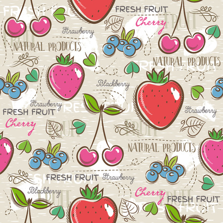 scrap booking: Background with  strawberry, blueberries and cherry. Ideal for printing onto fabric and paper or scrap booking Illustration