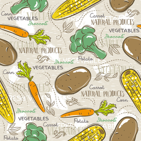 scrap booking: Background with  broccoli, corn and potato. Ideal for printing onto fabric and paper or scrap booking. Illustration