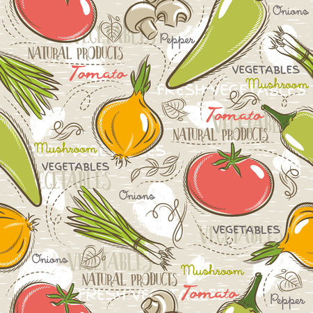 scrap booking: Background with  tomato, onions,  pepper. Ideal for printing onto fabric and paper or scrap booking.