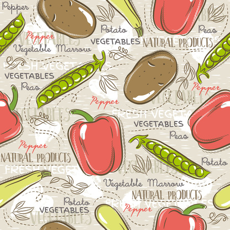 garden peas: Background with  potato, pepper, carrot. Ideal for printing onto fabric and paper or scrap booking.