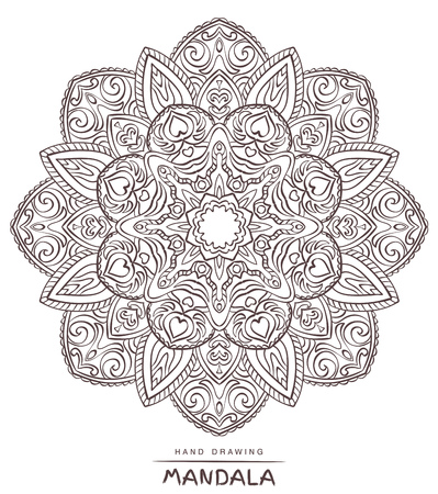 christmas motive: Vector mandala for coloring with ethnic decorative elements. Patterned Design Element, Coloring book. Illustration. Illustration