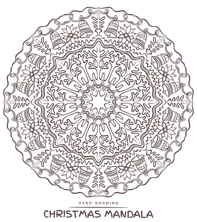 christmas motive: Vector mandala for coloring with christmas decorative elements. Patterned Design Element, Coloring book.