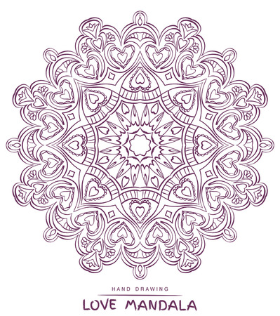 mystical: Vector mandala for coloring with valentines decorative elements.  Patterned Design Element, Coloring book.