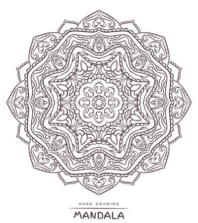 mystical: Vector mandala for coloring with ethnic decorative elements. Patterned Design Element, Coloring book. Illustration