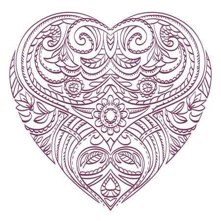 Vector Corazón Para Colorear Con Valentines Elementos Decorativos ...
