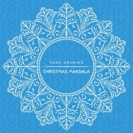 Vector mandala  with christmas decorative elements. Patterned Design Element, Coloring book. Vector illustration.