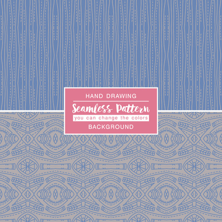scrap booking: Grey backgrounds with seamless patterns. Ideal for printing onto fabric and paper or scrap booking. Vector illustration Illustration