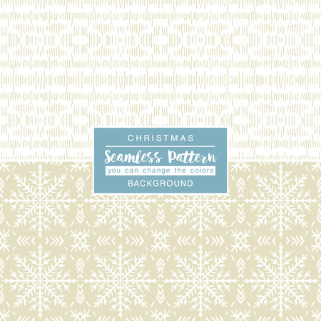beige backgrounds: Beige christmas backgrounds with seamless patterns. Ideal for printing onto fabric and paper or scrap booking. Vector illustration