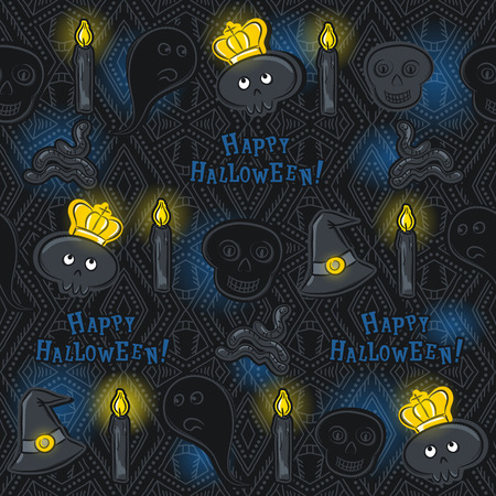 fire skull: Seamless Pattern with Halloween symbols on black background, vector