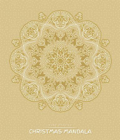 christmas element: Christmas mandala with decorative holidays elements on beige background. Patterned Design Element, Coloring book. Vector illustration. Illustration