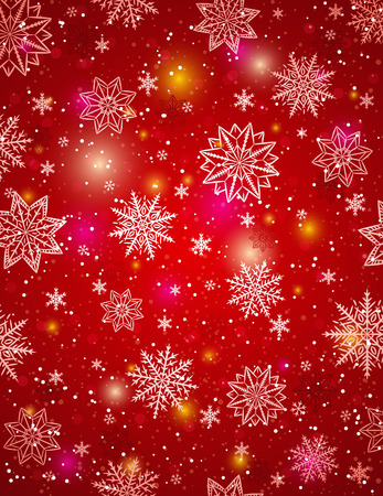 lustre: Red christmas  background with snowflakes and stars, vector illustration