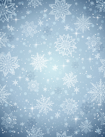 lustre: Grey christmas  background with snowflakes and stars, vector illustration