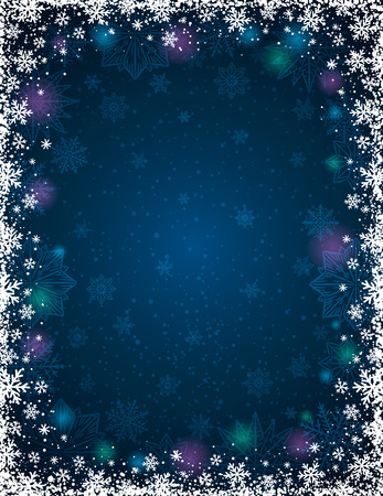 lustre: Blue christmas background with  frame of snowflakes and stars,  vector illustration