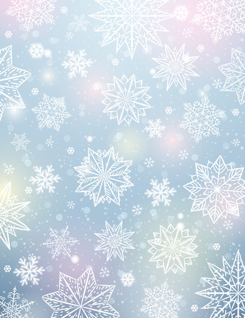 Light background with snowflakes and stars, vector illustration