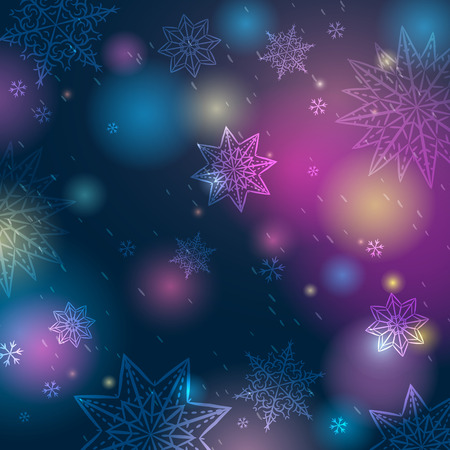 Blue background with snowflakes and stars, vector illustration Illustration