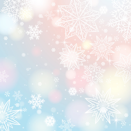 lustre: Light background with snowflakes and stars, vector illustration