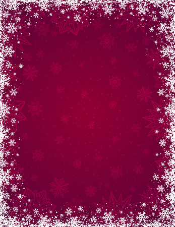 Red christmas background with  frame of snowflakes and stars,  vector illustration