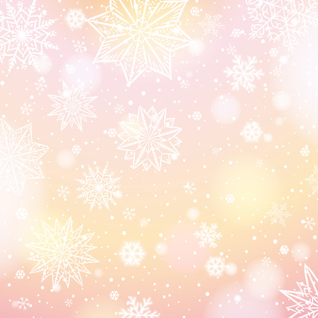 Light pink background with snowflakes and stars, vector illustration