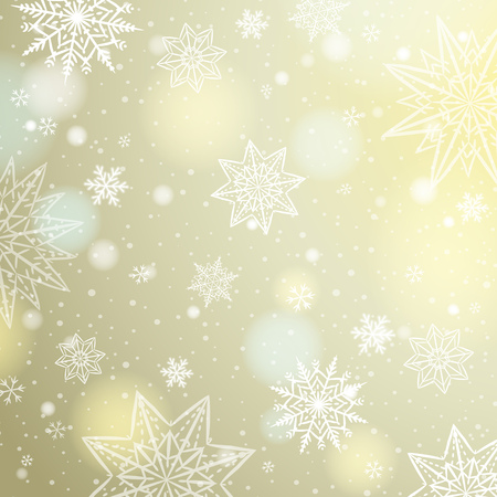 christams: Light beige background with snowflakes and stars, vector illustration Illustration