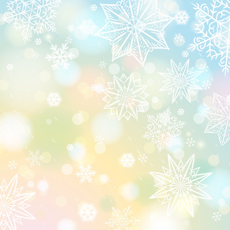 christams: Light color background with snowflakes and stars, vector illustration