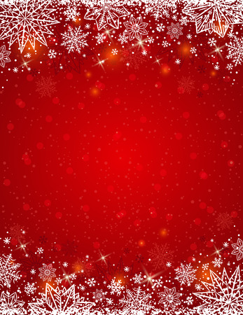 in vain: Red background with  frame of snowflakes and stars,  vector illustration Illustration