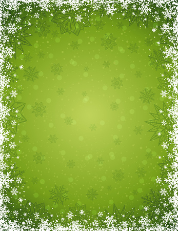 Green christmas background with frame of snowflakes and stars, vector illustration Vector Illustration