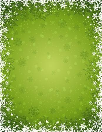 Groene Kerst achtergrond met frame van sneeuwvlokken en sterren, vector illustratie Vector Illustratie
