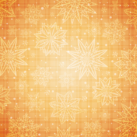 scrap gold: Christmas  snowflakes and stars over golden checked background, vector illustration