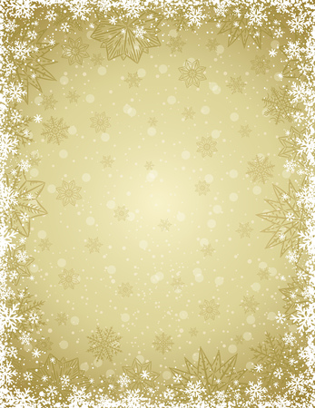 lustre: Beige christmas background with  frame of snowflakes and stars,  vector illustration