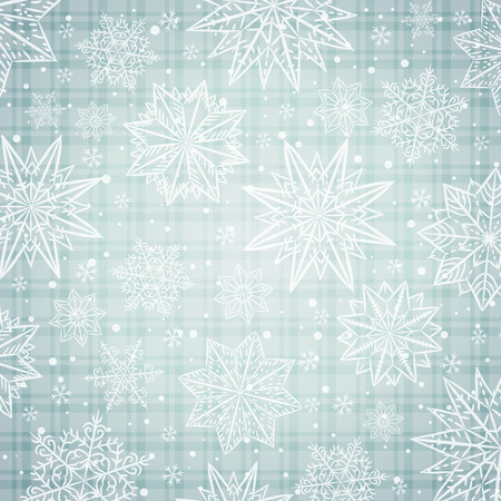 checked background: Christmas  snowflakes and stars over silver checked background, vector illustration Illustration
