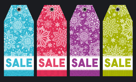 Christmas labels with stars, snowflakes and sale offer, vector illustration