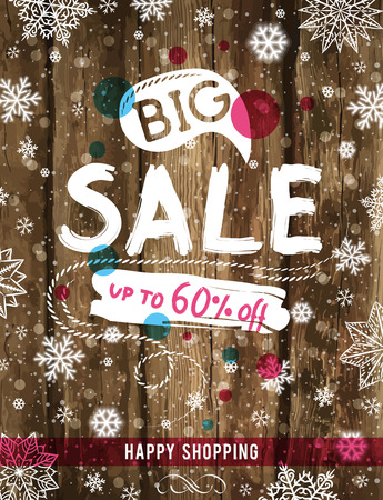 christmas poster: Christmas poster with snowflakes and sale offer, vector illustration