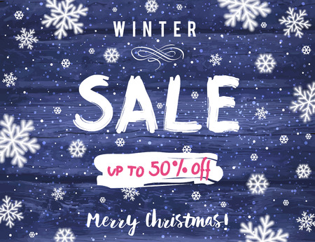 sell: Christmas banner with snowflakes and sale offer, vector illustration