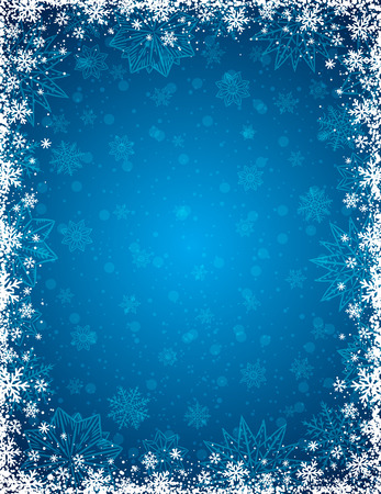 Blue christmas background with  frame of snowflakes and stars,  vector illustration