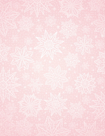 Pink christmas background with snowflakes and stars, vector illustration