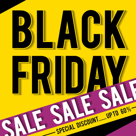 Black friday sale banner on yellow background, vector illustration