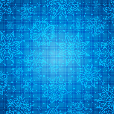 checked background: Christmas  snowflakes and stars over blue checked background, vector illustration