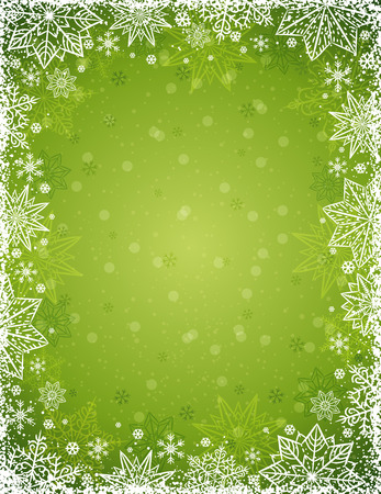 Green christmas background with  frame of snowflakes and stars,  vector illustrationv