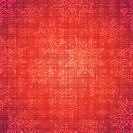 checked background: Christmas  snowflakes and stars over red checked background, vector illustration