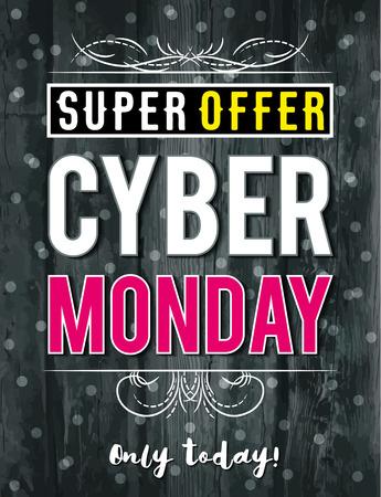 background banner: Cyber Monday sale banner on wooden black  background, vector illustration Illustration