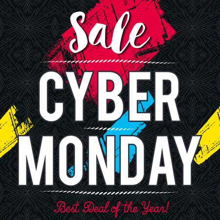 Cyber Monday sale banner on black patterned background, vector illustration Illustration