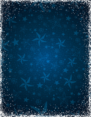 lustre: Blue christmas background with stars and  frame of snowflakes,  vector illustration Illustration