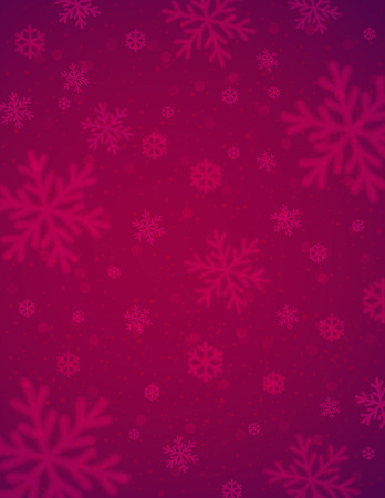 greeting cards: Christmas background with red blurred snowflakes, vector illustration