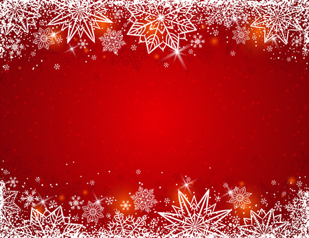 Red background with frame of snowflakes and stars, vector illustration