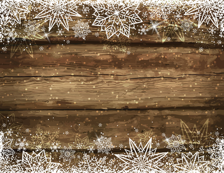 brown background: Wooden brown christmas background with snowflakes and stars, vector illustration
