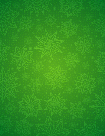 Green christmas background with snowflakes and stars, vector illustration